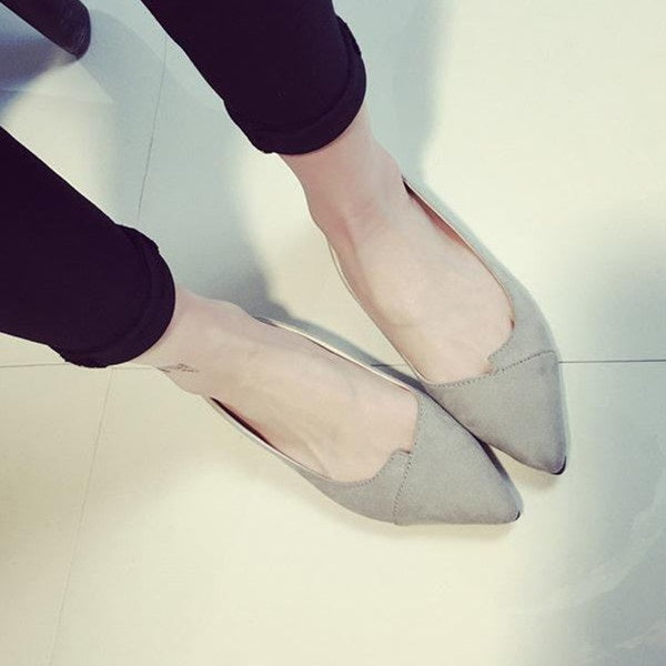 Slip-On Pointed Toe Flat With Low-Cut Upper 1cm Thin Shoes