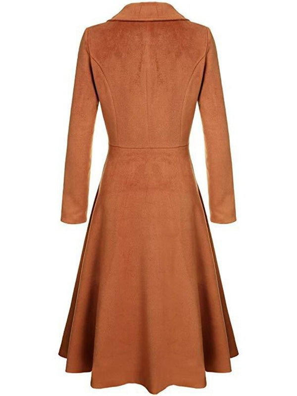 Women's Single Breasted Long Sleeve Trench Coat