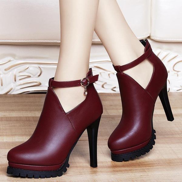 Buckle Decorated PU Stiletto Heels Women's Boots