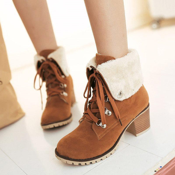 High Lace-Up Heel Suede Layer Women's Boots