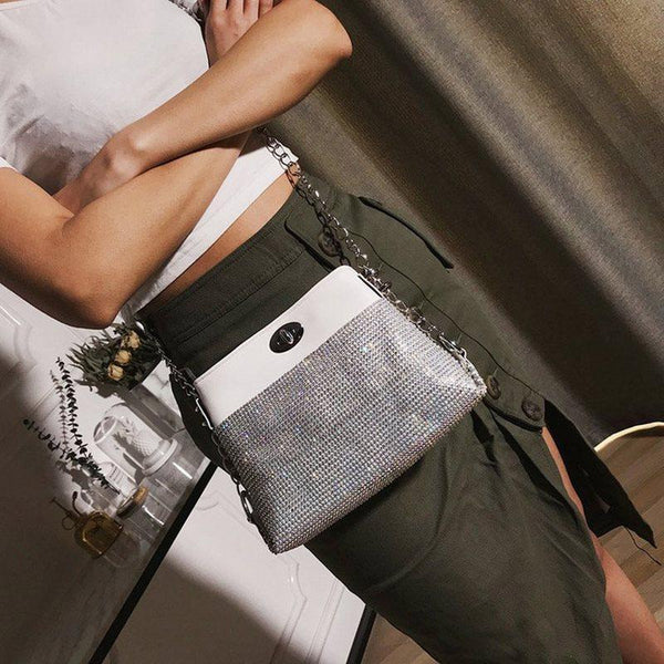 PU Plain Lock Rectangle Crossbody Bags