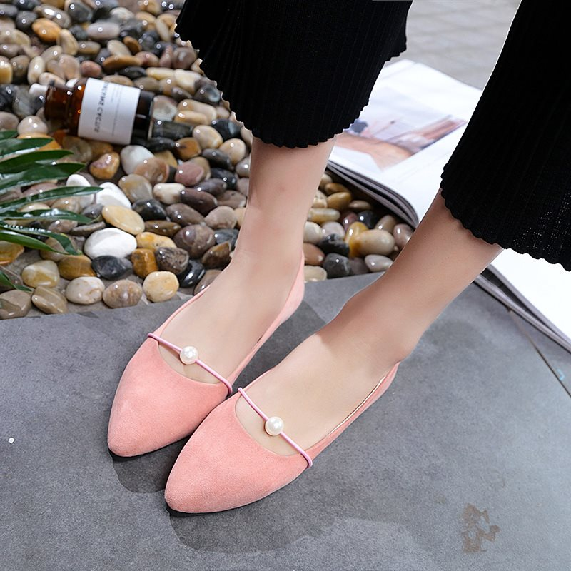 Beads Pointed Toe Block Heel Slip-On Plain Low-Cut Upper Thin Shoes