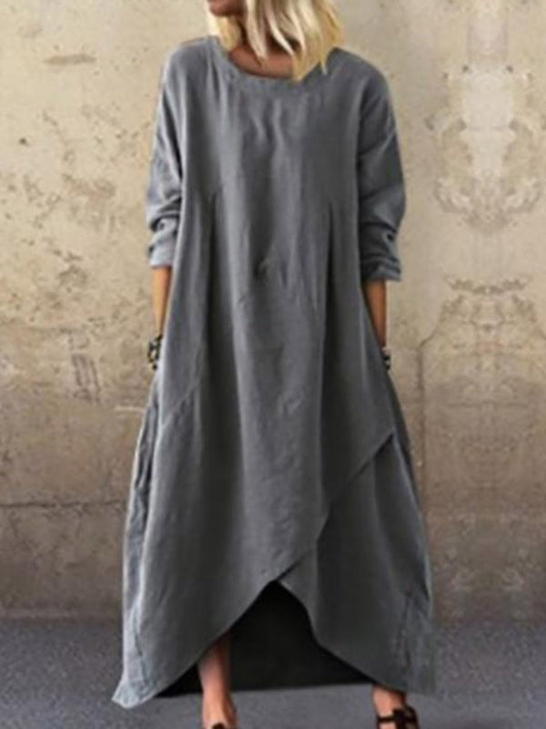 Round Neck Asymmetric Ankle-Length Plain Asymmetrical Dress