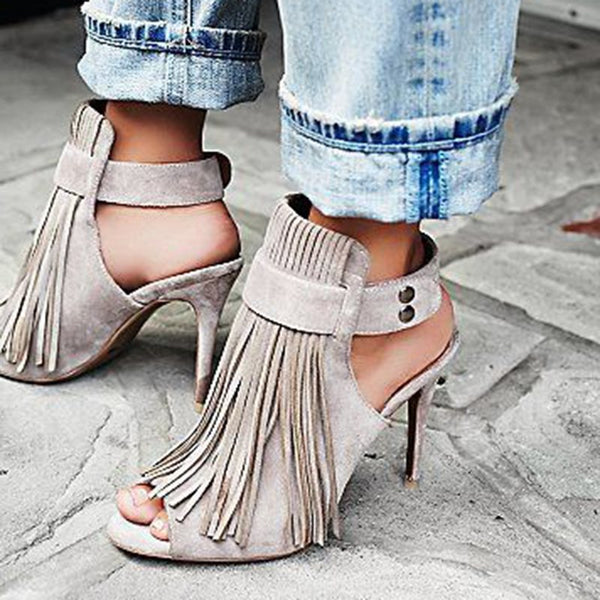Peep Toe Strappy Stiletto Heel Buckle Low-Cut Upper Fringe Sandals