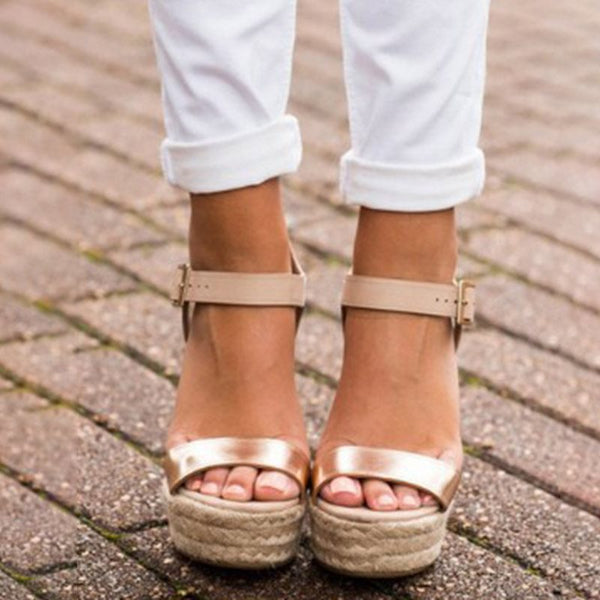 Ankle Strap Wedge Heel Buckle Open Toe Buckle Plain Sandals