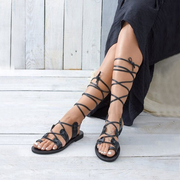 Flat With Toe Ring Lace-Up Western Sandals