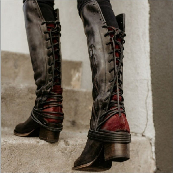 Round Toe Plain Chunky Heel Side Zipper Cross Strap Casual Boots