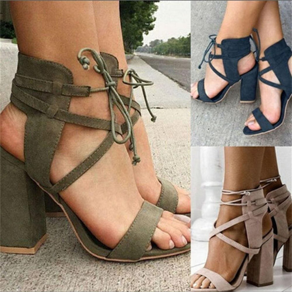 Lace-Up Open Toe Western Sandals
