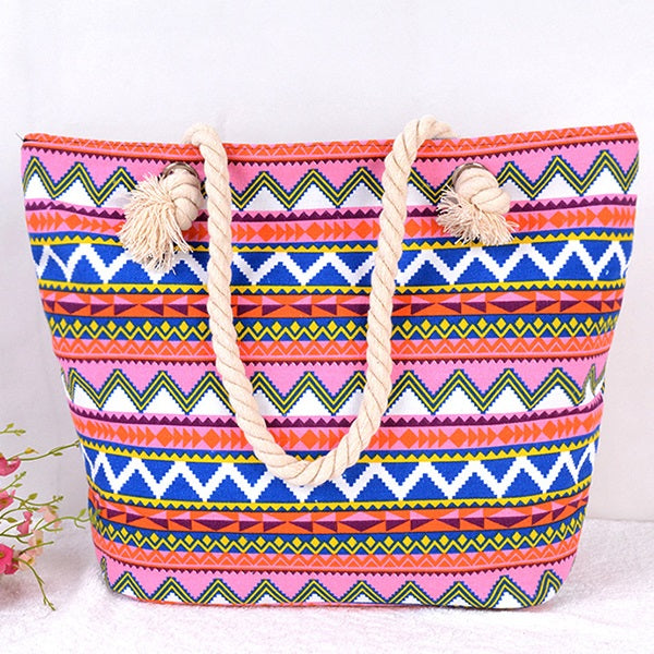 Stripe Print Fashion Canvas Square Tote Bags