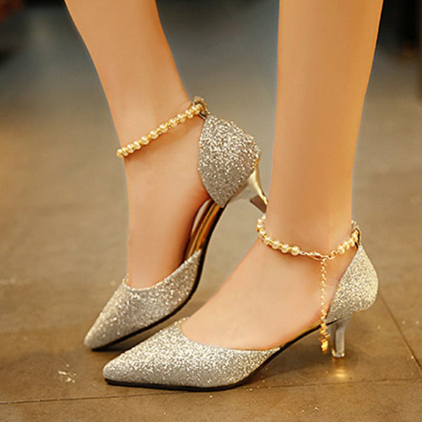 Sequin Pointed Toe Line-Style Buckle Stiletto Heel Plain Low-Cut Upper Thin Shoes