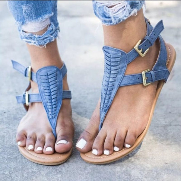 Buckle Block Heel Thong Strappy Low-Cut Upper Casual Sandals