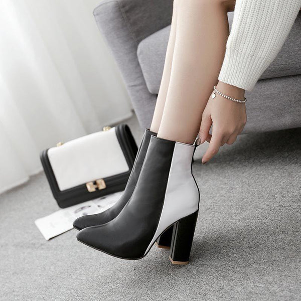 Side Zipper Chunky Heel Color Block Pointed Toe Thread Casual Boots