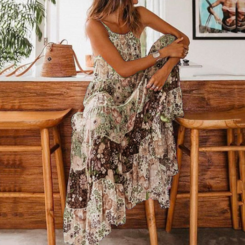 Sleeveless Scoop Print Pullover Floral Dress