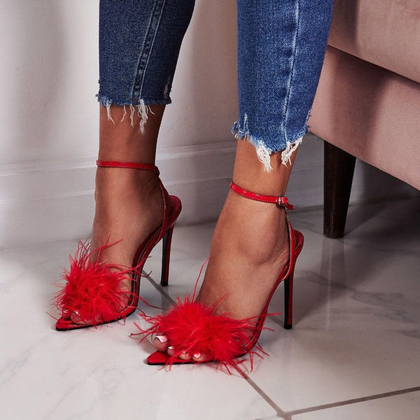 Ankle Strap Line-Style Buckle Open Toe Stiletto Heel Pompon Casual Sandals