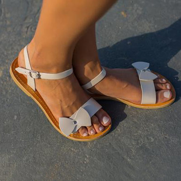Flat With Buckle Open Toe Western Bow Sandals