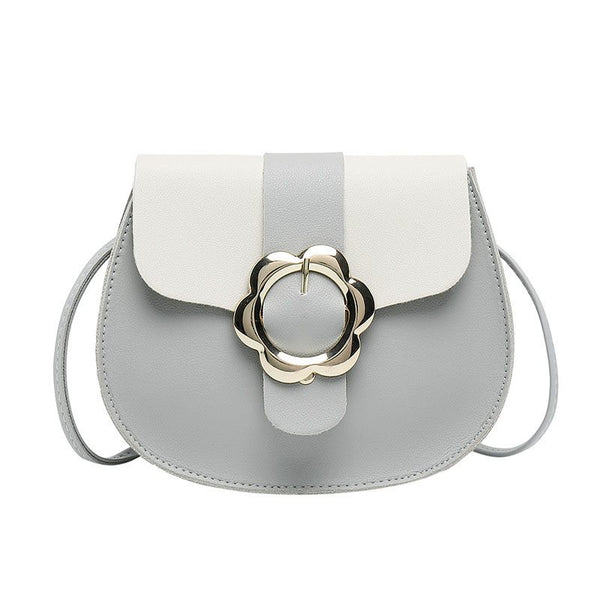 Korean Color Block PU Saddle Crossbody Bags