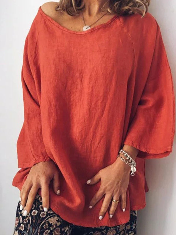 Plain Mid-Length Nine Points Sleeve Blouse