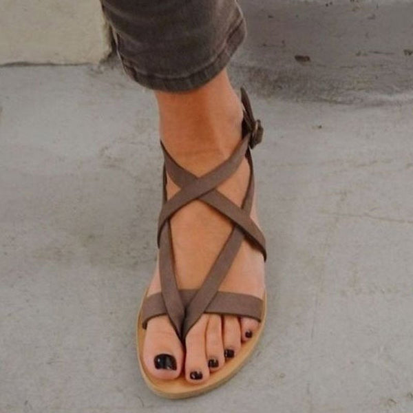 Strappy Block Heel Thong Buckle Low-Cut Upper Casual Sandals