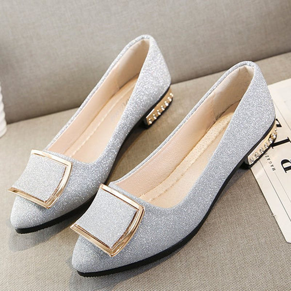 Block Heel Pointed Toe Sequin Slip-On Casual Low-Cut Upper Thin Shoes