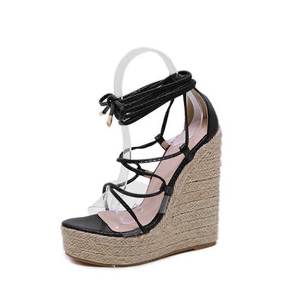 Heel Covering Lace-Up Open Toe Wedge Heel Hollow Western Sandals