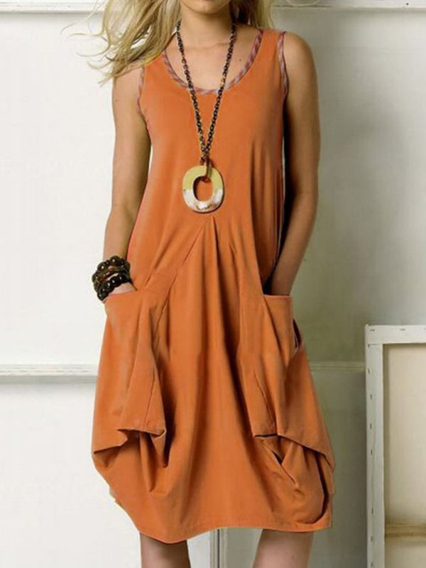 Pocket Knee-Length Sleeveless Fashion Summer Dress