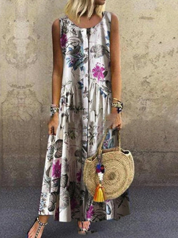 Sleeveless Round Neck Ankle-Length Plant A-Line Dress