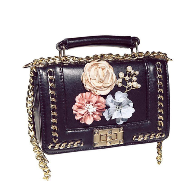 Chain PU Floral Crossbody Bags