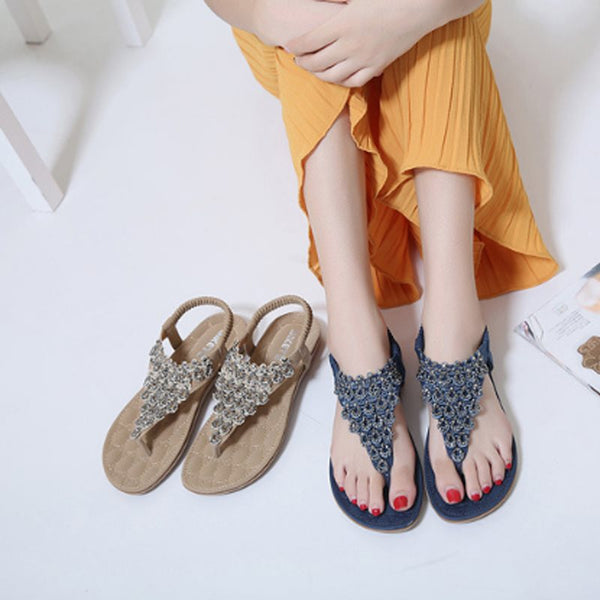 Flat With Elastic Band Thong Casual Ethnic Sandals
