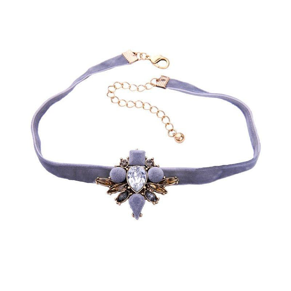 Floral Diamante Choker Necklace Female Necklaces