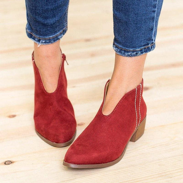 Zipper Pointed Toe Block Heel Mid-Heel Casual Thin Shoes