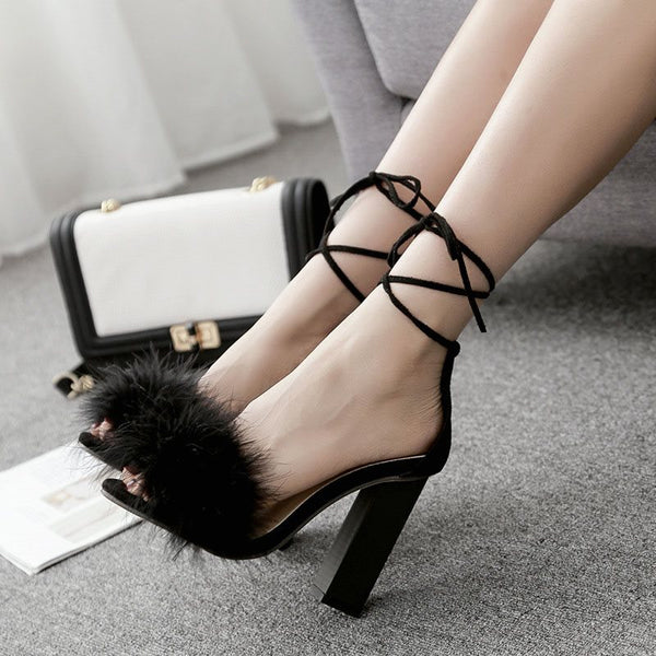 Chunky Heel Ankle Strap Open Toe Lace-Up Plain Pompon Sandals