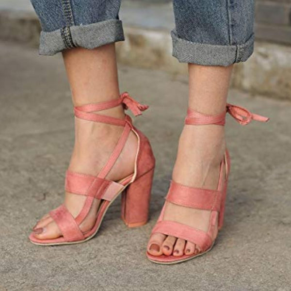 Chunky Heel Lace-Up Open Toe Casual Sandals