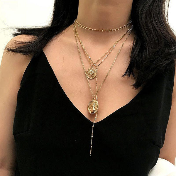 European Geometric E-Plating Female Necklaces