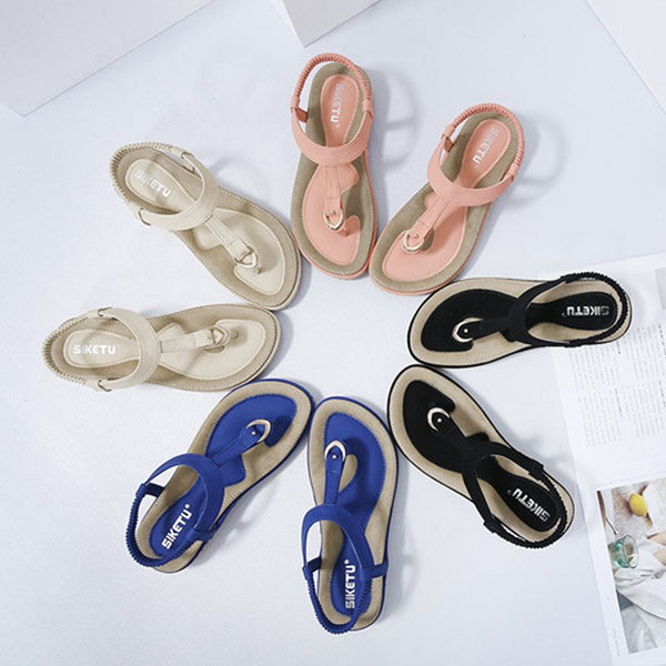 Thong Elastic Band Flat With Casual Western Sandals