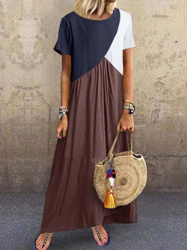 Ankle-Length Pleated Round Neck Pullover Color Block Dress