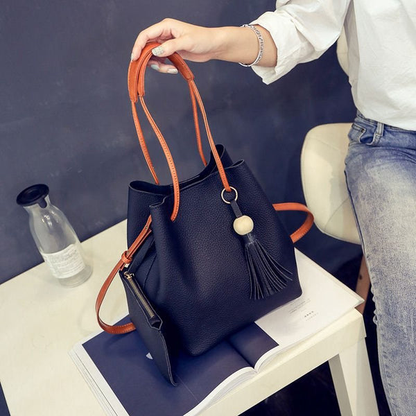 Plain Tassel PU Korean Barrel-Shaped Tote Bags