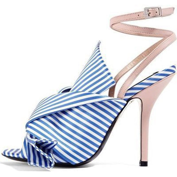 Buckle Ankle Strap Stiletto Heel Peep Toe Stripe Bow Sandals