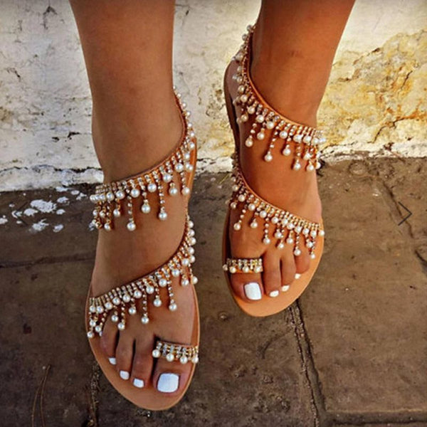 Block Heel Slingback Strap Round Toe Slip-On Casual Beads Sandals