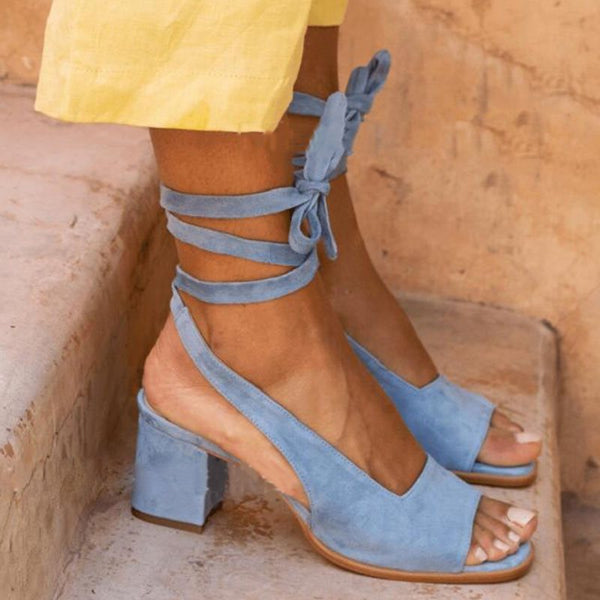 Lace-Up Chunky Heel Open Toe Casual Western Sandals