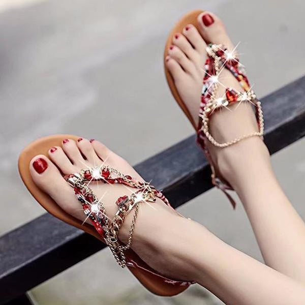 Flat With Buckle Thong Ethnic Casual Sandals