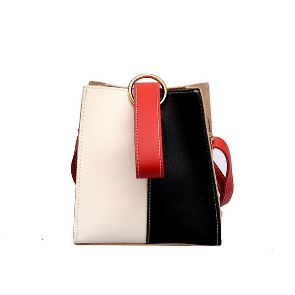 Patchwork PU Rectangle Crossbody Bags