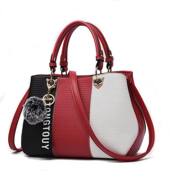 Color Block PU Tote Bags