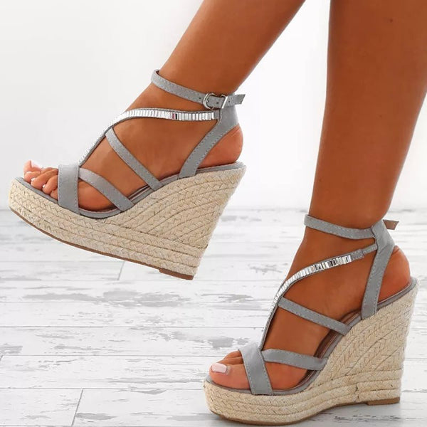 Strappy Buckle Wedge Heel Open Toe Platform Plain Sandals