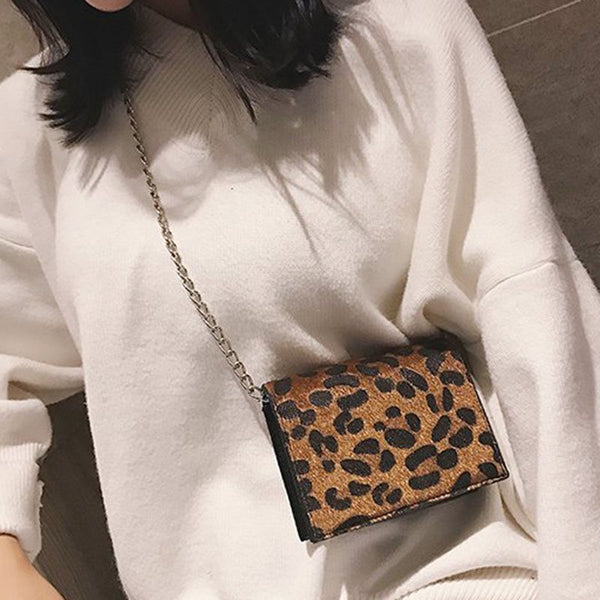 PU Leopard Chain Square Crossbody Bags