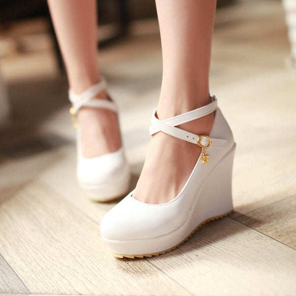 Round Toe Line-Style Buckle Wedge Heel Platform Casual 10cm Thin Shoes
