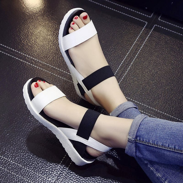 Elastic Band Ankle Strap Open Toe Platform Color Block Platform Sandals