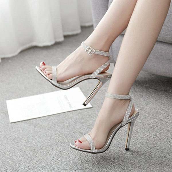Line-Style Buckle Open Toe Ankle Strap Stiletto Heel Casual Plain Sandals