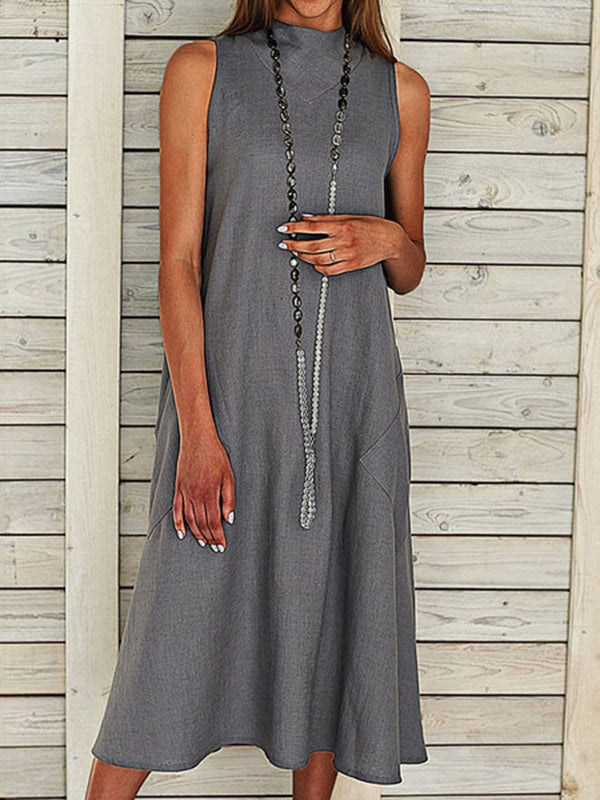 Mid-Calf Sleeveless Pocket Pullover A-Line Dress