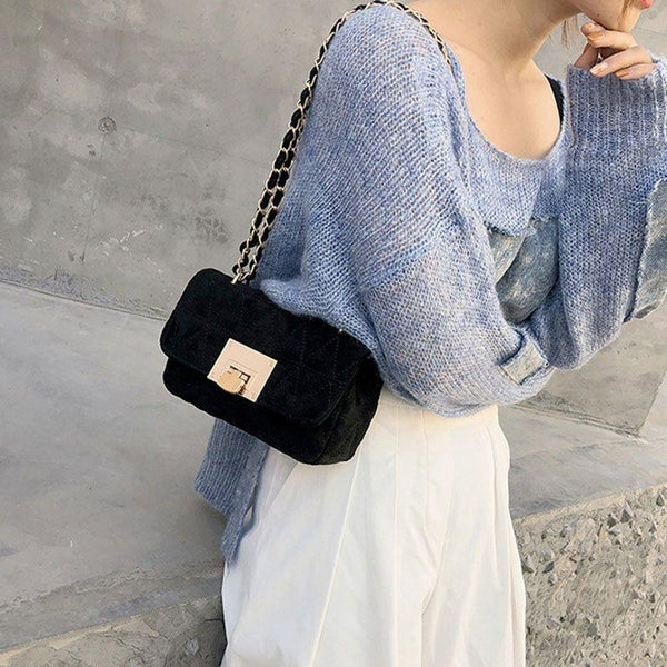 Thread PU Plain Rectangle Crossbody Bags