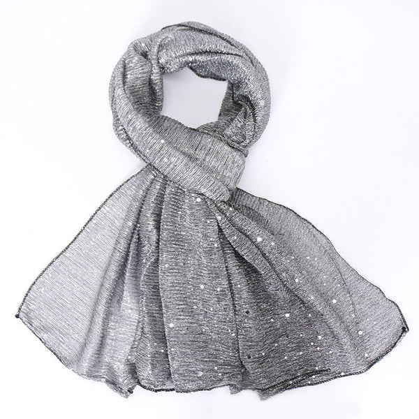 Vintage Scarf Sequins Plain Scarves